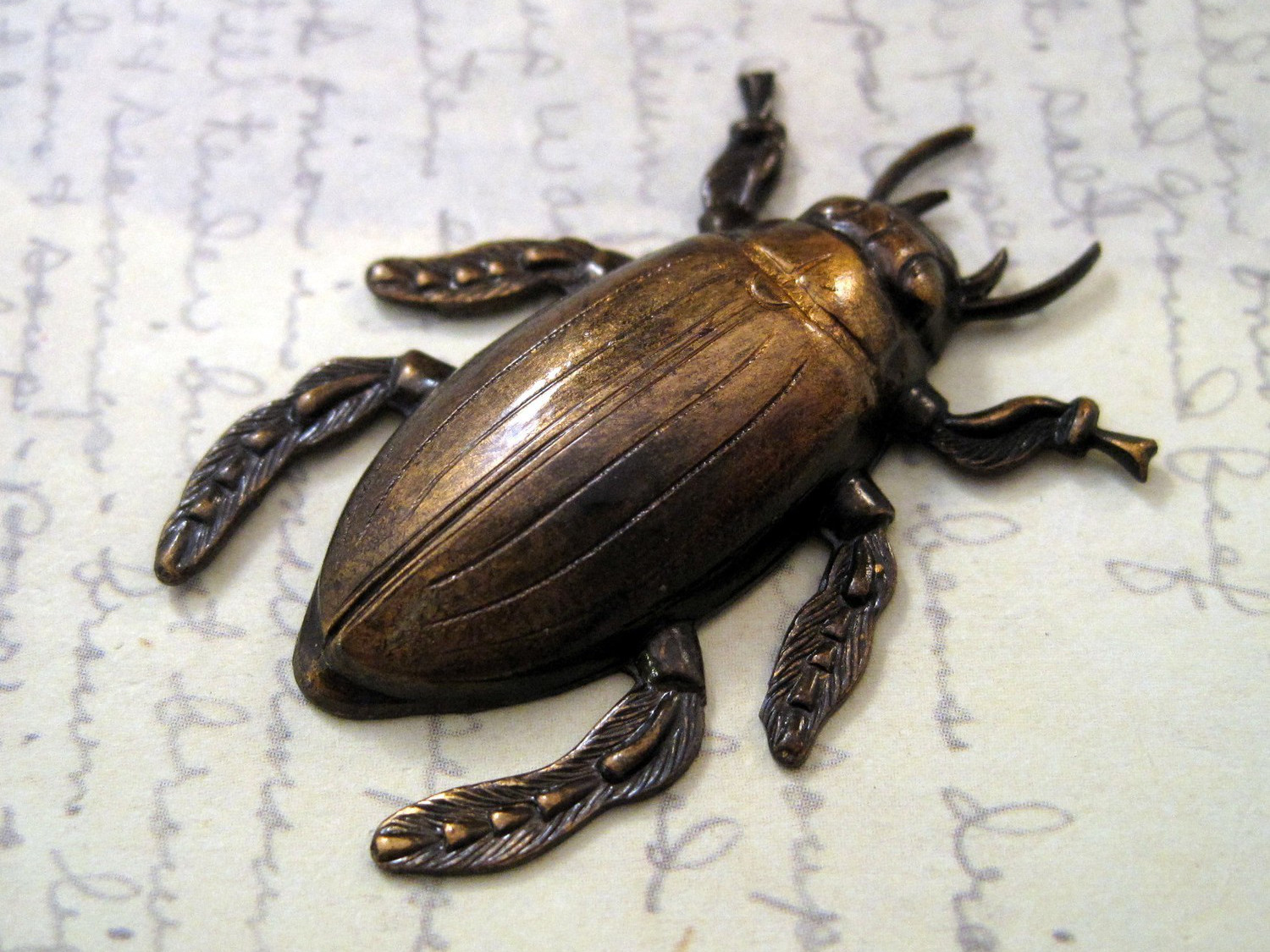Brass Cockroach - Image Credit GlamourGirlBeads http://www.etsy.com/listing/62042780/large-antiqued-brass-cockroach1-ants3074