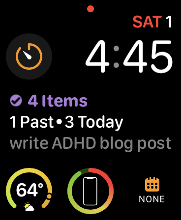"screenshot of an apple watch face displaying a to-do item saying ""write ADHD blog post"""